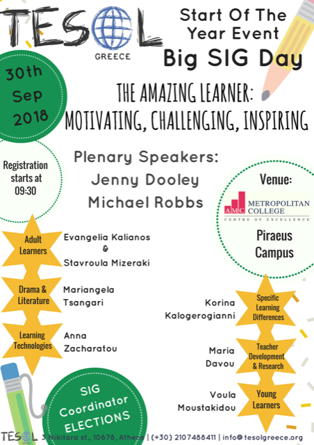 Research and Promotion Centre for T.F.L. Europalso - TESOL, Start-of-The-Year Event & Big SIG Day, 30/9 «The Amazing Learner: Motivating, Challenging, Inspiring»
